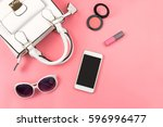 woman handbag with makeup ... | Shutterstock . vector #596996477