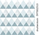 blue triangle seamless pattern... | Shutterstock . vector #597002513