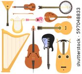 stringed musical instruments... | Shutterstock .eps vector #597048833