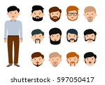 beard man character creation... | Shutterstock .eps vector #597050417