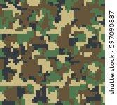 pixel camo. seamless camouflage ... | Shutterstock .eps vector #597090887