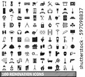 100 renovation icons set in... | Shutterstock .eps vector #597098837
