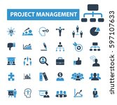 project management icons  | Shutterstock .eps vector #597107633
