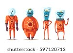 friendly aliens. cartoon vector ... | Shutterstock .eps vector #597120713