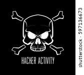 skull. danger alert. computer... | Shutterstock .eps vector #597136673