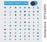 perfect website icons  | Shutterstock .eps vector #597143093