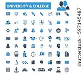 university college icons | Shutterstock .eps vector #597145487