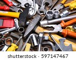 Small photo of Hand tool on a wooden background