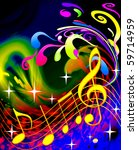 illustration music and waves... | Shutterstock . vector #59714959