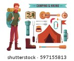 camping flat set with hiking...   Shutterstock .eps vector #597155813