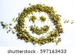 make me smile with cannabis... | Shutterstock . vector #597163433