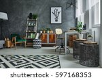stylish apartment with designer ... | Shutterstock . vector #597168353