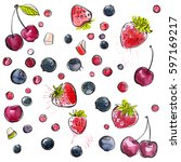 berries painted with...   Shutterstock . vector #597169217