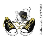 Stock vector cute puppy playing with sneakers vector illustration for a card or poster print on clothes 597170033