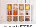 assortment of dry spices in... | Shutterstock . vector #597179033