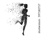 running woman. sport fitness... | Shutterstock .eps vector #597182717