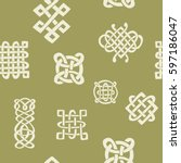 seamless pattern with celtic... | Shutterstock .eps vector #597186047