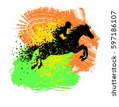 vector illustration with horse... | Shutterstock .eps vector #597186107