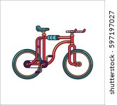 red fixed gear bicycle with... | Shutterstock .eps vector #597197027