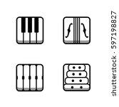 block instrumen icons   piano ...   Shutterstock .eps vector #597198827