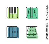 block instrumen icons   piano ...   Shutterstock .eps vector #597198833