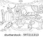 children coloring cartoon house ... | Shutterstock .eps vector #597211313