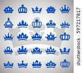crown icons set isolated on... | Shutterstock .eps vector #597217817