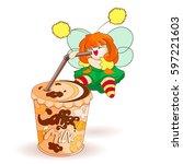 a little fairy drinks a sweet... | Shutterstock .eps vector #597221603