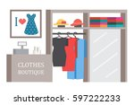 clothing shop store. clothes... | Shutterstock .eps vector #597222233