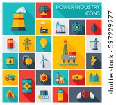 vector set of power energy... | Shutterstock .eps vector #597229277