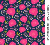 seamless vector simple floral... | Shutterstock .eps vector #597234893