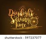 daylight saving time poster or...   Shutterstock .eps vector #597237077