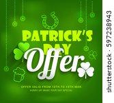 saint patricks day sale poster... | Shutterstock .eps vector #597238943