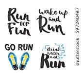 running marathon logo jogging... | Shutterstock .eps vector #597240467