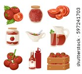 fresh tomatoes with paste... | Shutterstock .eps vector #597241703