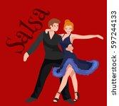 happy salsa dancers couple... | Shutterstock . vector #597244133