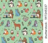 tribal animals woodland forest... | Shutterstock .eps vector #597245237