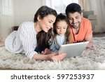 happy family with one child... | Shutterstock . vector #597253937
