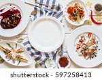 empty plate in seafood snacks... | Shutterstock . vector #597258413