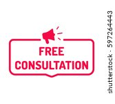 free consultation. badge with...   Shutterstock .eps vector #597264443