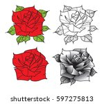 flower rose. isolated on white... | Shutterstock .eps vector #597275813