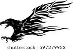 eagle flame landing | Shutterstock .eps vector #597279923