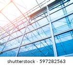 glass office buildings in wide... | Shutterstock . vector #597282563