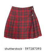 short plaid skirt isolated on... | Shutterstock . vector #597287393