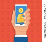 mobile monetization concept.... | Shutterstock .eps vector #597295277