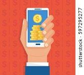 mobile monetization concept.... | Shutterstock .eps vector #597295277
