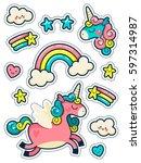 Stickers Set With Unicorns ...
