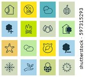 set of 16 eco icons. includes... | Shutterstock .eps vector #597315293