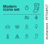 Set Of 12 Holiday Icons....