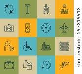 set of 16 travel icons.... | Shutterstock .eps vector #597319913